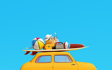 Small Retro Car With Baggage, Luggage And Beach Equipment On The Roof, Fully Packed, Ready For Summer Vacation, Concept Of A Road Trip, Blue Background And Bright Yellow Car