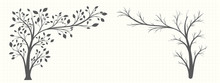 Silhouette Of A Tree In A Gray Tone In Two Versions On A Notebook Page In Vintage Style