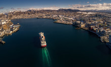 The Coastal Express Ship Hurtigruten MS Polarlys Arrives At Bodø Harbor Just After Noon.