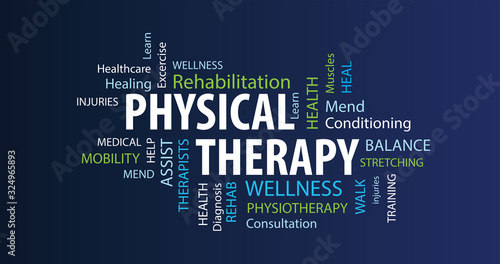 Vászonkép Physical Therapy Word Cloud on a Blue Background
