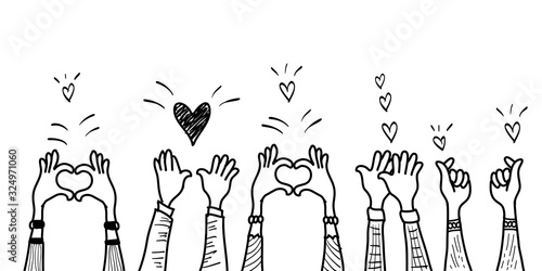 Obraz doodle hands up,Hands clapping with love. applause gestures. congratulation business. vector illustration - fototapety do salonu