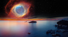 """Long Exposure Image Of Dramatic Sky And Seascape With Rock And Stellar Explosion Of Supernova """"Elements Of This Image Furnished By NASA"""""""