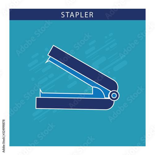 Vászonkép Stapler paper fastener flat vector icon