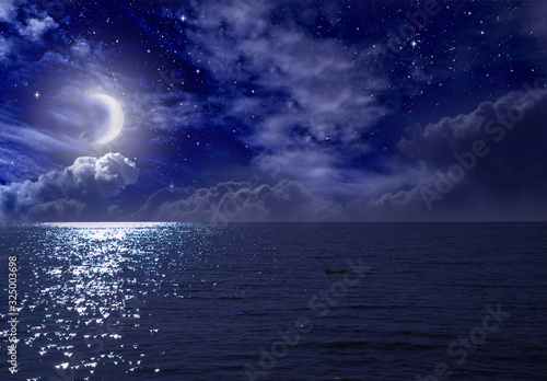 Fototapety, obrazy: Crescent moon over the sea at night