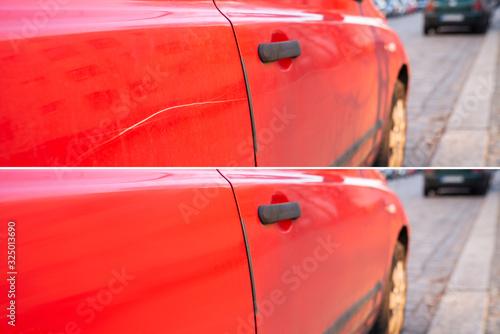 Fototapeta Car Scratch Repair Before And After