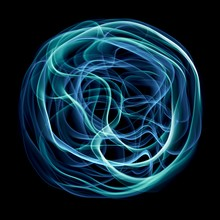 Abstract Fluid Flowing Light In Circle Shape In Blue And Green Isolated On Black Background In Concept Of Modern, Technology, Energy.