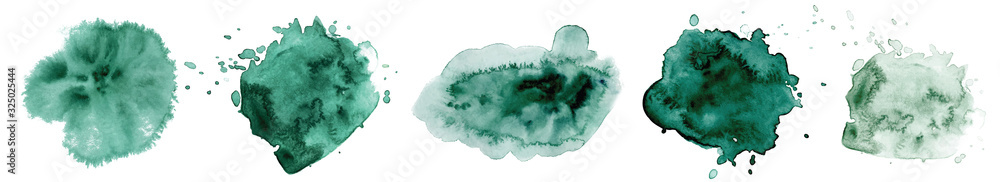 Fototapeta Abstract watercolor dark green shapes on white background. Color splashing hand drawn vector