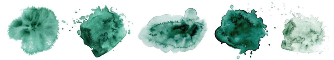 Abstract watercolor dark green shapes on white background. Color splashing hand drawn vector