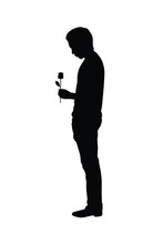 Young Man With Flower In Hand Silhouette Vector