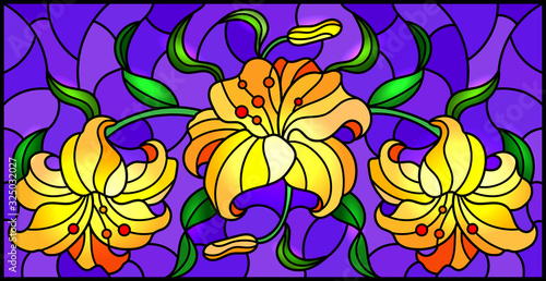 Naklejka kwiaty na szybę  llustration-in-stained-glass-style-with-flowers-leaves-and-buds-of-pink-lilies-on-a-purple