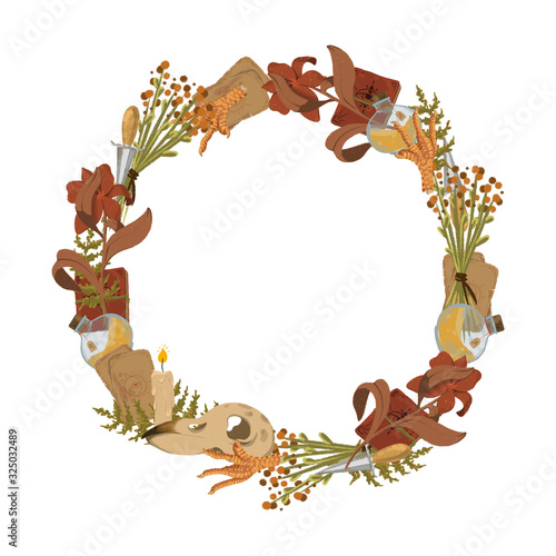 A magical wreath of witch objects Фотошпалери