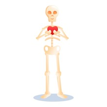 Skeleton Keep Heart Icon. Cartoon Of Skeleton Keep Heart Vector Icon For Web Design Isolated On White Background