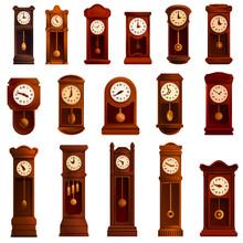 Pendulum Clock Icons Set. Cartoon Set Of Pendulum Clock Vector Icons For Web Design