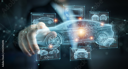 Leinwand Poster Man holding and touching holographic smart car interface projection 3D rendering