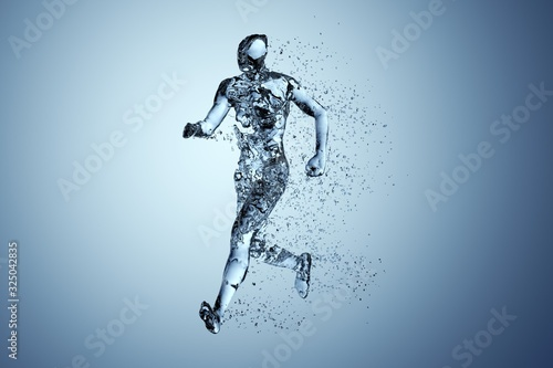 Human body shape of a running man filled with blue water on blue gradient backgr Tapéta, Fotótapéta