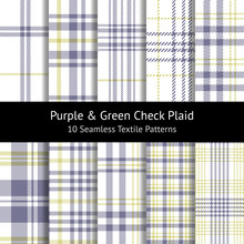 Plaid Pattern Set. Tartan Seam...