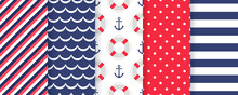 Nautical, Marine Seamless Pattern. Vector. Sea Backgrounds With Stripes, Anchor, Zigzag, Lifebuoy, Polka Dot. Set Blue Summer Texture. Abstract Geometric Print For Baby Boy Shower. Color Illustration.
