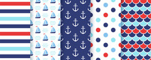 Nautical, Marine Seamless Patt...