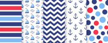Nautical, Marine Seamless Pattern. Vector. Sea Backgrounds With Anchor, Stripe, Sailboat, Zigzag And Circles. Set Blue Summer Print. Geometric Texture For Baby Shower, Scrapbooking. Color Illustration