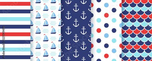 Stampa su Tela Nautical, marine seamless pattern