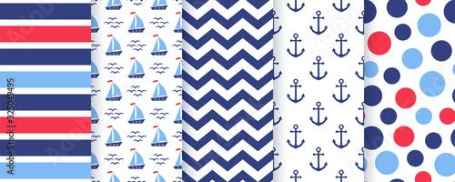 Fotografia Nautical, marine seamless pattern