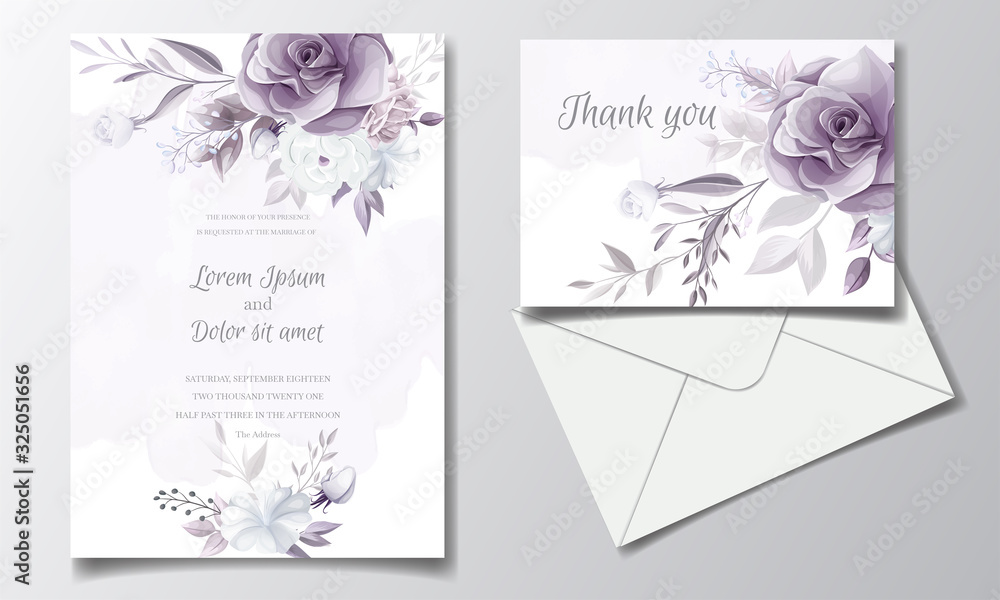 Fototapeta Elegant wedding invitation card with beautiful purple and white floral
