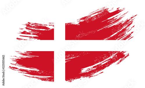 Fényképezés Danish flag grunge brush background. Vector illustration.