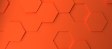 Abstract Modern Orange Honeycomb Background