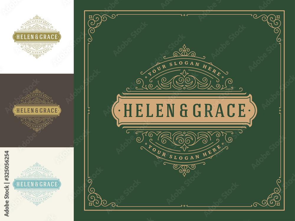 Fototapeta Vintage logo template vector golden elegant flourishes ornaments.