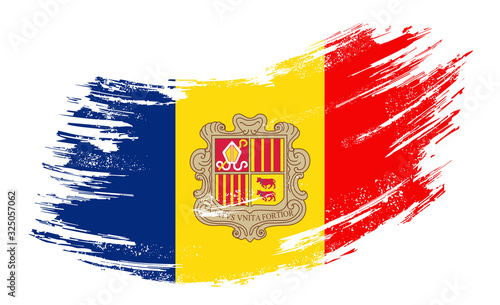 Andorran flag grunge brush background. Vector illustration. Wallpaper Mural