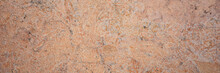 Brown Sandstone Wall Texture. Close-up Panoramic Photo Of Brown Background