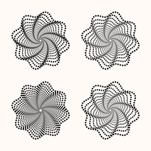 Set Of Dots Flower. Halftone D...