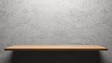 Wooden Empty Shelf  On Cement ...