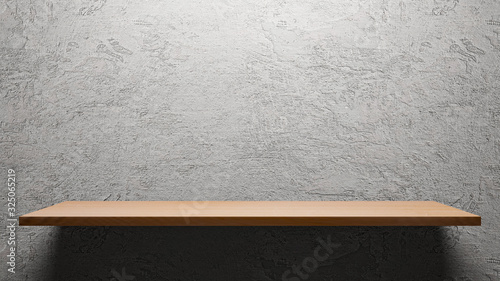 Fotografia Wooden empty shelf  on cement wall background for show product.