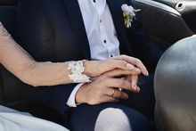 Close Up Of Newlywed Couple Hands With Wedding Rings, Copy Space. Wedding Couple, Bride And Groom, Hands With Rings, Closeup
