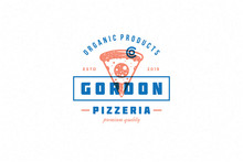 Hand Drawn Logo Pizza Slice Si...