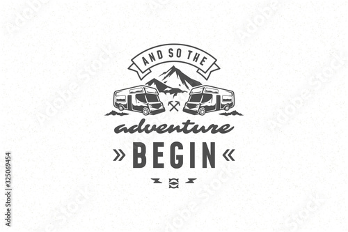 Stampa su Tela Quote typography with hand drawn camper caravan symbol and mountain for greeting card and poster