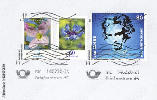 Briefmarken stamps Deutschland Germany Beethoven Blumen 80 Notenschlüssel Gesich Canvas Print