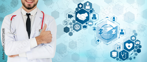 Fototapety, obrazy: Medical Healthcare Concept - Doctor in hospital with digital medical icons graphic banner showing symbol of medicine, medical care people, emergency service network, doctor data of patient health.