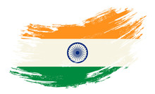 Indian Flag Grunge Brush Background. Vector Illustration.