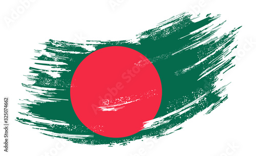 Foto Bangladeshi flag grunge brush background. Vector illustration.