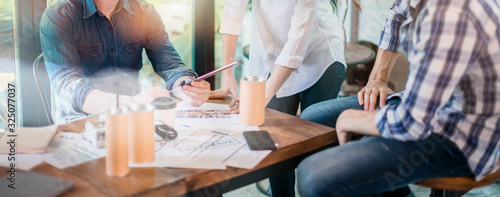 Fotografie, Obraz Group of asian young creative happy people entrepreneur on a business meeting of