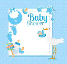 Baby Shower Card With Stork An...