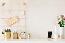Modern Office Desk With Gold A...