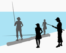 Vector Female Silhouettes. Teenager Girl With Mom Fishing. A Group Of People. Woman In A Hat And Jeans With Fishing Rod. A Girl In A Dress Is Fishing. People Are Standing On  Log. Side View Back View