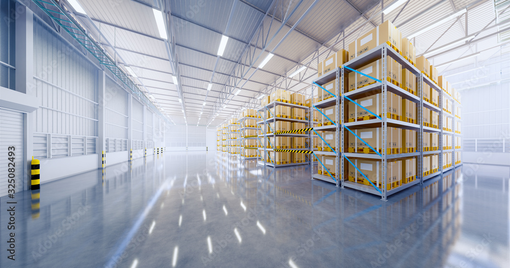 Fototapeta Warehouse or industry building interior. known as distribution center, retail warehouse. Part of storage and shipping system. Included box package on shelf, empty space and concrete floor. 3d render.