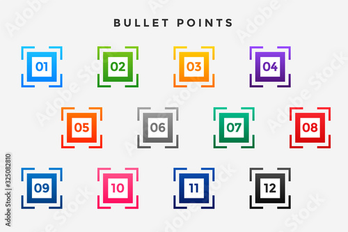 square business bullet points numbers set Canvas Print