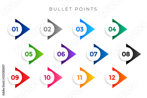 Fototapeta stylish arrow bullet points numbers from one to twelve