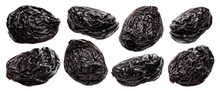 Prunes Isolated On White Background With Clipping Path