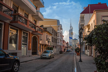 European Street With Old, Modern Buildings And Stone Pavement In Batumi. Georgian Architecture Landmark. Tourist Place.